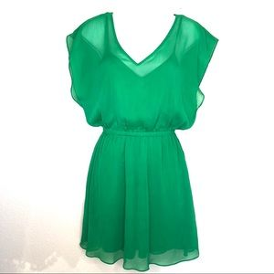 Express Emerald Green Flutter Sleeve Dress